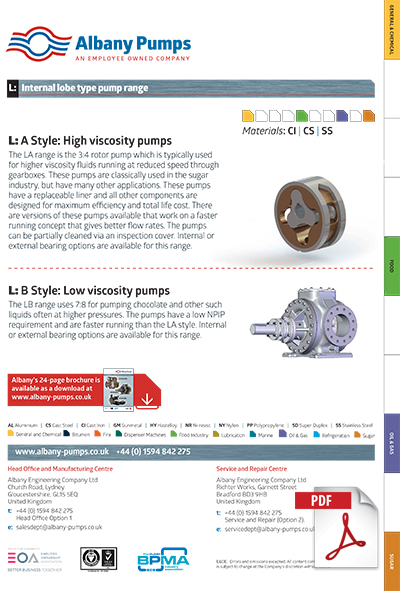 Albany Lobe pump brochure