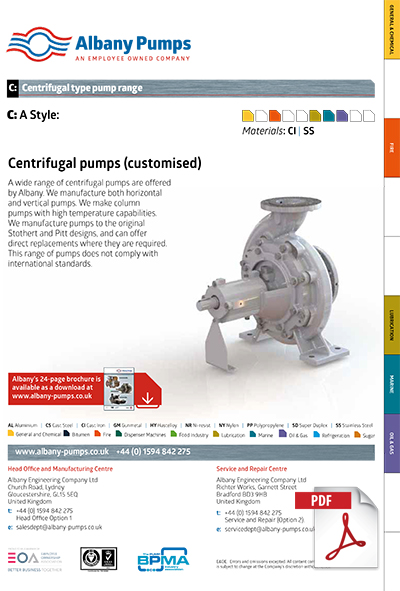 Albany Centrifugal pump brochure